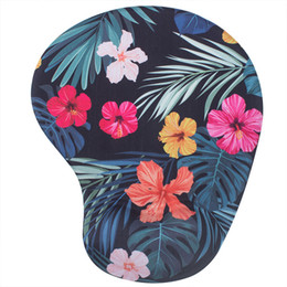 1b84f0493 Mouse Pad with Wrist Rest Support for Girls Women, Tropical Floral Memory  Foam Wrist support mice pad for office work, gaming