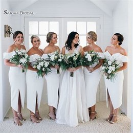 111b8ac11df4 2019 Pure White Sheath Bridesmaid Dresses With Tea Length With Split Maid  of Honor Vestido De Novia