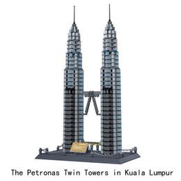 Tower Blocks Australia - Diamond Blocks World Famous Architecture Kuala lumpur Petronas Twin Tower Mini 3D Model Building Blocks DIY Assembly Bricks Toys