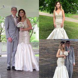 Maternity Mermaid Wedding Dress Styles Australia - Luxury V-neck Bridal Wedding Dresses 2019 Elegant Style Floor Length Satin Mermaid Bridal Gown Custom Made