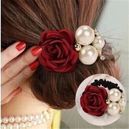 $enCountryForm.capitalKeyWord NZ - Big Rose Flower Scrunchie Ponytail Elastic Rope Rubbers Women Headwear Simulated Pearl Hair Bands Accessories Jewelry