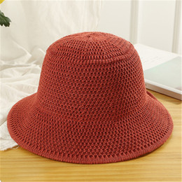 4b2f590e1319f6 Fashion Harajuku Solid Plain Wide Brim Hats Korean Styles Knit Fisherman Cap  Female Panama Bucket Hat Autumn Winter Warm Caps