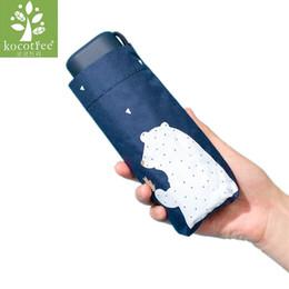 Nylon Coating Australia - Kocotree Cartoon Bear Umbrella Compact Pocket Mini Umbrella Women 5 Folding Black Coating Anti UV Sunny For Travel