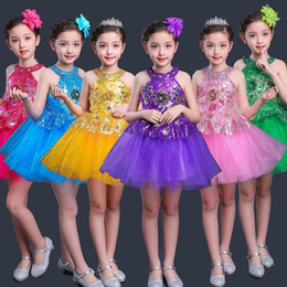 Wholesale jazz dance outfits costumes for sale - Group buy Children Jazz Performance Dresses Tutu Sequins Ballet Dress For Kids Modern Dancing Costumes Skating Dresses For Girls Outfits