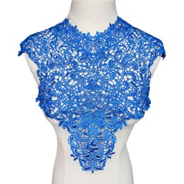 $enCountryForm.capitalKeyWord UK - Blue Fabric Collars Appliques Round Neck Hollow Trims Sew On Embroidered Patches For Wedding Bride Dress DIY