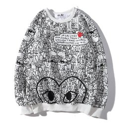 sweater cartoon couple Australia - Free post 19S classic graffiti pattern round neck cartoon sweater couple shirt
