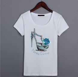 $enCountryForm.capitalKeyWord NZ - Summer Korean version of high heel pattern handmade beaded printed short-sleeved cotton T-shirt Top Tees