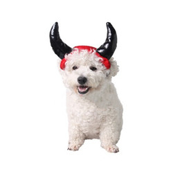 male hair products UK - Pet Cosplay demon headdress Halloween Funny Cosplay Party Horn Cat Dog Pet Hat Costume Head Cover Supplies Pet Products Grooming Decoration
