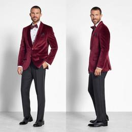 Bright Suits Australia - Bright Burgundy Velvet Mens Wedding Tuxedos Shawl Lapel Groom Prom Jacket Suits Designer Custom Made Blazer One Piece