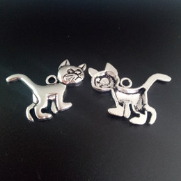 TibeTan charms caTs online shopping - 80pcs Animals Charms Cat Kitty Tibetan Silver Beads Pendant For DIY Jewelry Craft Beacelet Earring Accessories mm