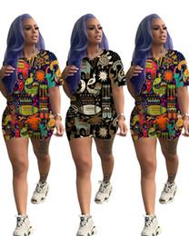 $enCountryForm.capitalKeyWord Australia - Women 2 piece set sportswear cute animal print Hawaii style short sleeve t-shirt skinny mini shorts summer clothing fashion running suit 719