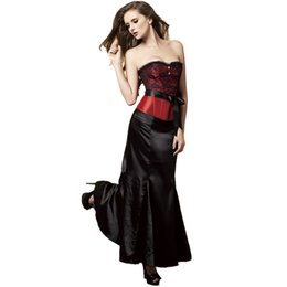$enCountryForm.capitalKeyWord UK - New Style Women's Lace Bow Satin Bridesmaid Boned Slim Corset Six Colors With Black Maxi Skirt Halloween Dancing Party Dress Outfit