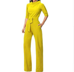 $enCountryForm.capitalKeyWord UK - 2019 new fashion women's Tracksuit for Women Jumpsuit elegant Rompers Turn Down Collar Wide Leg Pants Ladies Pantsuit