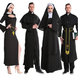 medieval women clothing UK - Medieval Cosplay Halloween Costumes for Women Priest Nun Missionary Costume Set 2018 Adult Cosplay Clothing Woman Dress