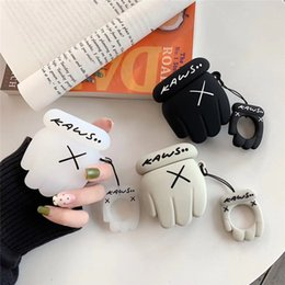 kaws earphone NZ - For Apple AirPods Case 3D Cartoon Kaws XX Gloves Silicone Case For AirPods 2 Protective Earphone Charging Box Cover For Air Pods