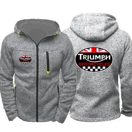 Motorcycle Jacket Sport NZ - Vintage British Triumph Motorcycle Men Sports Casual Wear Hoodies Zipper Fashion Trend Jacquard Fall Sweatshirts Spring Autumn Jacket