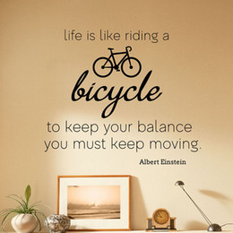 decals for bicycles NZ - Albert Einstein Quote Wall Decals Life is Like Riding a Bicycle Vinyl Wall Sticker Motivational Vinyl Art Home Decoration