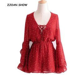 elastic chiffon jumpsuit NZ - Bohemian Lace up V neck Polka Dot Print Jumpsuit 2018 Women Ruffles Flare Sleeve Elastic Waist Short Pants Romper Overalls Red