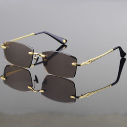 $enCountryForm.capitalKeyWord NZ - Vazrobe Glass Sunglasses Men Trimming Crystal Lens Driving Sun Glasses Cool Rimless Anti Reflection High-grade Brown Clear Lens