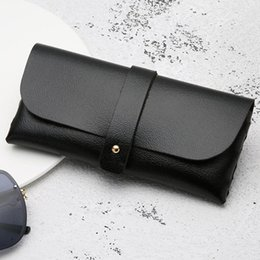 sunglasses soft pouch NZ - Women Men Glasses Case Fashion Holder Pouch Sunglasses Bag Solid PU Leather Accessories Portable Folding Box Soft Storage