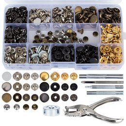 snap tools NZ - 120Set Snap Fasteners Kit 4 Colors 20Set Double Cap Press Studs Rivet Buttons 6pcs Fixing Tools for Leather Coat Down Jacket