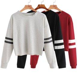 $enCountryForm.capitalKeyWord Australia - Autumn Hoodded Crop Short Tops Striped Sleeve Tops Women Long Sleeve Sweatshirts Casual Pullovers Sweatshirt