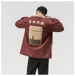 chinese mens fashion jacket UK - Letter Printed Casual Jacket Fashion Plus Size Mens Clothing Chinese Characters Printed Mens Jacket Designer Hero