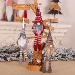 $enCountryForm.capitalKeyWord Australia - 2019 Christmas 3 Colors Santa Claus Knitted Dolls with Tall Hat and Long Beard Christmas Tree Hanging Decorations for Kids Gift