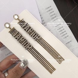 tassels j Australia - Fashion brand J Golden tassel Designer earrings for lady Design Women Party Wedding Lovers gift Luxury Jewelry for Bride With BOX