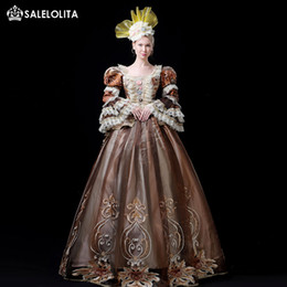 1f9e77539f88c Hot Sale Coffee 18th Century Rococo Marie Antoinette Dress Gothic Victorian  Period Party Dress Theater Ruffle Women Costumes