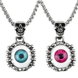 Eyes Bijoux Australia - Eyes Pendants Necklaces Turkey Blue Red Devil's Eye Man Woman Skull Statement Necklace Bijoux Gothic Men Necklace