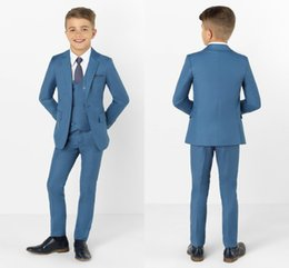 Handsome Kids Suits Australia - 2019 Handsome Royal Blue Boys Formal Wear Jacket Pants 3 Pieces Set Suits for Wedding Dinner Children Kids Tuxedos