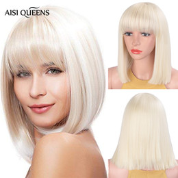 Black white BoB wig online shopping - Aisi Queens Synthetic Wigs with Bangs Straight Blonde Short Natural Bob wig for Black White Women High Temperature Fiber