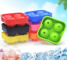 Ice brIck mold balls online shopping - 4 Balls Whiskey Ice Cube Maker MoldDrinking Wine Tray Brick Round Maker Mold Sphere Mould Party Bar Ice Moldes color SN996