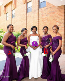 $enCountryForm.capitalKeyWord Australia - 2019 African Black Girl Purple Mermaid Bridesmaids Dresses Stain Appliques Ruffle Floor Length Maid Of Honor Dress Wedding Guest Dress