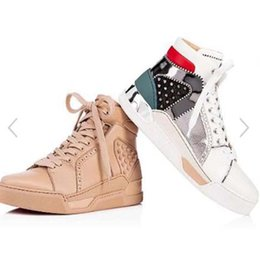 skate buckles UK - High Quality Spikes Men Shoes Red Bottom Sneakers Loubikick Flat Genuine Leather Spiked Shoes Mid Sports Shoes Flat Skate Outdoor Traine hh1