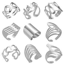 stainless steel knuckles NZ - Adjustable Hollow Open Rings Striped Flower Heart Geometric Open Ring Stainless Steel Women Men Punk Knuckle Rings Party