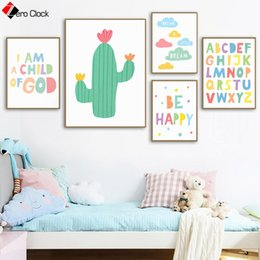 painting clouds Australia - Scandinavian Modern Canvas Painting Cactus Cloud Print Rainbow Quotes Posters Pastel Color Wall Art Nursery Decoration Pictures