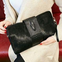 $enCountryForm.capitalKeyWord NZ - New Women's Crocodile Pattern Genuine Leather Messenger Bags Leopard Print Clutch Bag Horse Hair Crossbody Tide Evening Bag