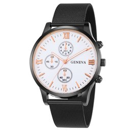 geneva men business watch 2020 - 3 button design classic mens male business alloy metal mesh belts watch geneva roma man black quartz wrist watches wrist