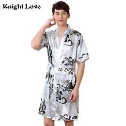 1ff869baf4 Sexy Print Men Robe Set 2 PCS Home Clothing Silky Faux Silk Belt Bathrobe  Men s Kimono Bath Gown Nightwear Male Sleep Robes Suit