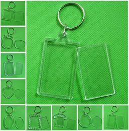 Wholesale Photo Frame Keychain Clear Acrylic Plastic Blank Keyrings Insert Passport Photo Frame Keychain Picture Frame Keyrings Party Gift DHA450
