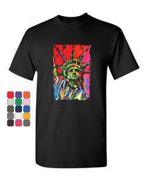 Statue Liberty Paintings Australia - Neon Statue of Liberty T-Shirt Art Painted New York Freedom USA Mens Tee Shirt Men Women Unisex Fashion tshirt Free Shipping black