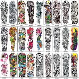 $enCountryForm.capitalKeyWord Australia - Waterproof Tattoo Sticker Full Arm Temporary Tattoo Sleeves Peacock peony dragon skull Designs Waterproof Cool Men Women Tattoos Stickers