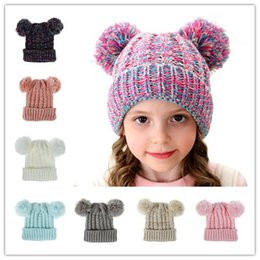 hat double ball cap knitted Australia - Kid Knit Crochet Beanies Hat Girls Soft Double Balls Winter Warm Hat 12 Colors Outdoor Baby Pompom Ski Caps ST779