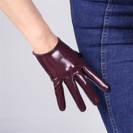 black patent leather gloves Australia - 16cm Patent Leather Short Gloves Emulation Leather PU Mirror Bright Leather Wine Red Dark Red Women Gloves Free Shipping WPU121