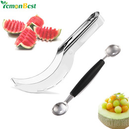 Cutter Fruit Watermelon Australia - melon scoop Stainless Steel Watermelon Slicer Fruit Knife Cutter And Ice Cream Ballers Melon Scoop Double Size Spoon Set Kitchen Tools