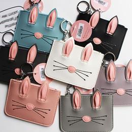$enCountryForm.capitalKeyWord NZ - 3D Rabbit Ear Cartoon Card Holder Bag Case With Hanging Keychain Bunny Credit Card Holders Coin Purse Wallet