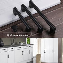 Black Wardrobes Australia - Black Aluminum Alloy Simple Door Handles Wardrobe Cabinet Cupboard Kitchen Pulls Knob Modern Furniture Minimalism Knobs