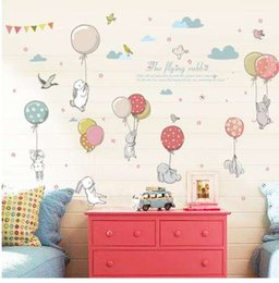 Living Room Bedroom Furniture NZ - Cartoon diy super cute balloon rabbit wall sticker for kids room birds cloud decor furniture wardrobe bedroom living room decal